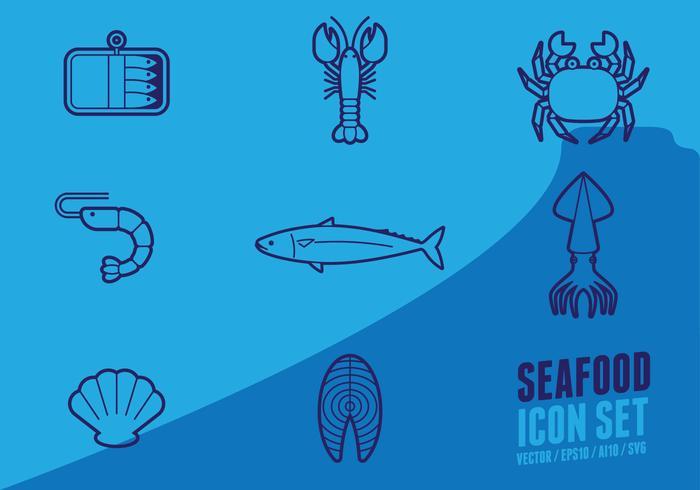 Fisk- och skaldjurs Outline Ikon vektor