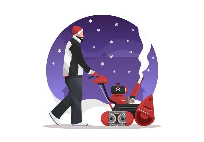 Mann mit einer Schneefräse Vector Illustration