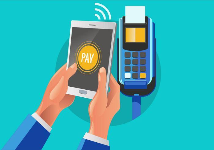Kunden Bezahlen einen Händler mit Handy-NFC-Technologie vektor