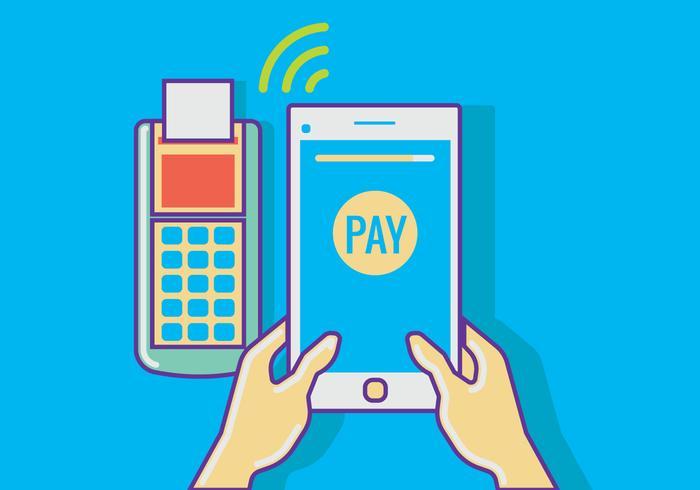 Man Bezahlen mit NFC-Technologie auf Tablet vektor