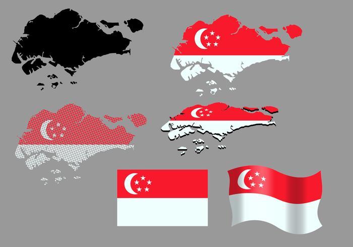 Singapore Karta och flagga vektorer