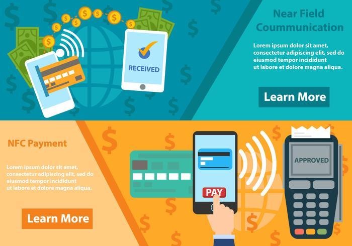 Bezahlen mit NFC-System vektor