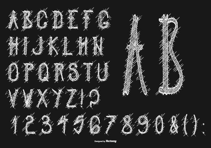 Netter Messy Scribble Syle Alphabet vektor