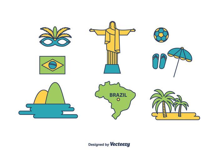 Brasilien Icons Set vektor