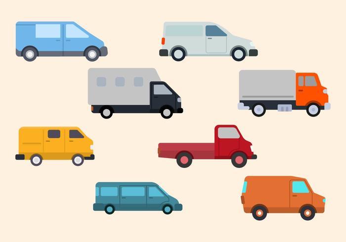 Flat Van Vector Collection