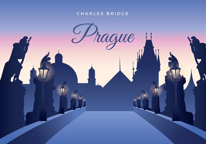 Karlsbron i Prag Gratis Vector