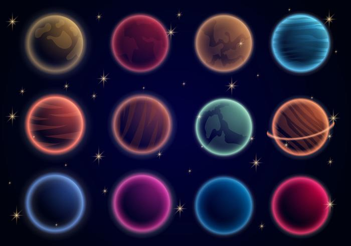 Glödande planeter i universum vektor