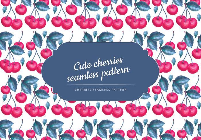Vector Hand Drawn Cherries Seamless Pattern
