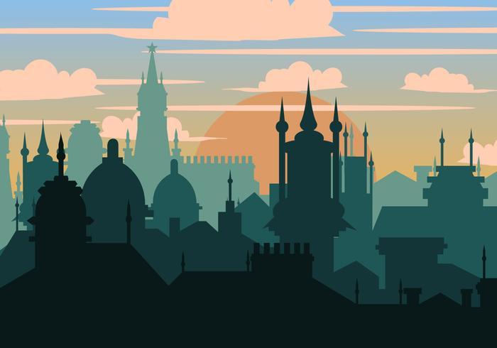 Prague City i siluett vektor
