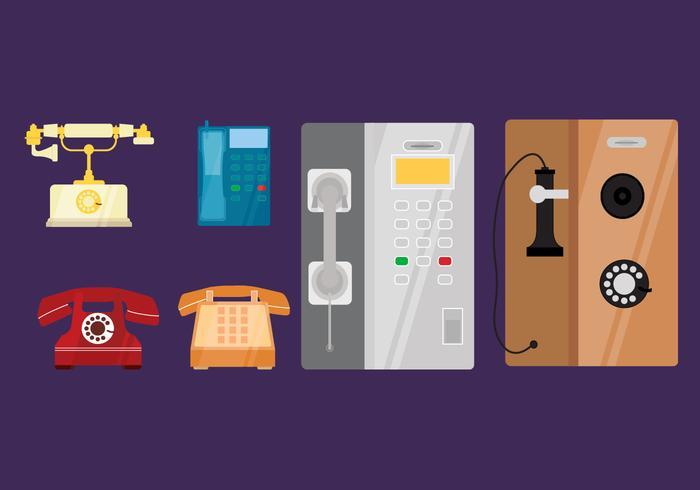 Wohnung klassische Telefon-Vektor-Sammlung vektor