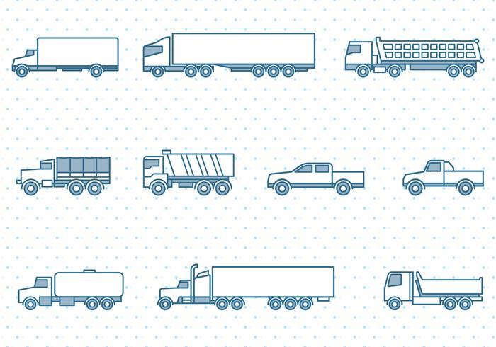 Lastbilar Ikoner Set vektor