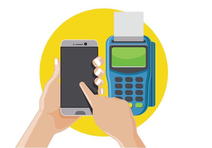 Man Bezahlen von NFC auf Smart-Phone vektor