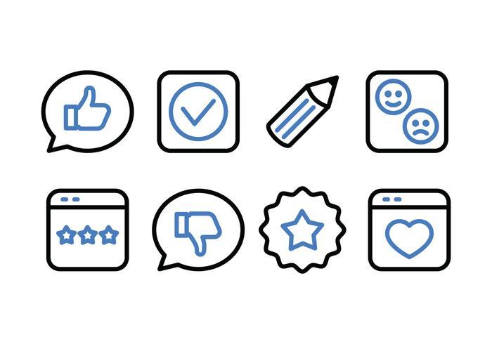 Testimonials und Feedback Icon Pack vektor