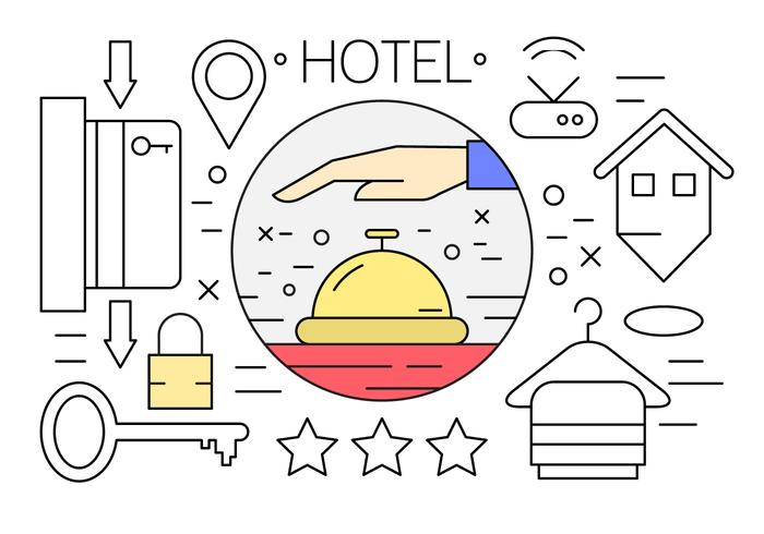 Kostenlose Linear Hotel Icons vektor