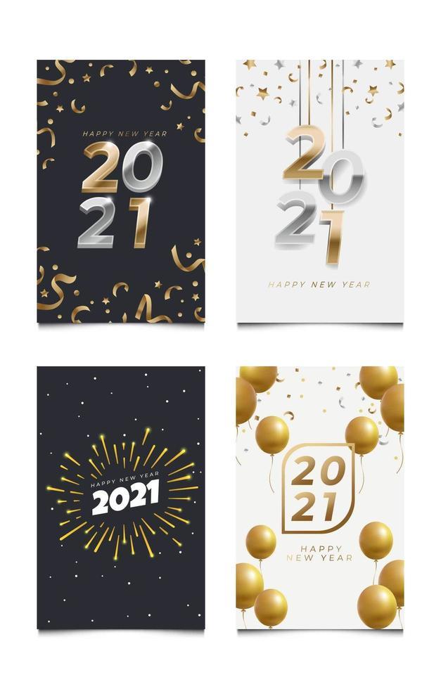 uppsättning nyår gratulationskort vektor