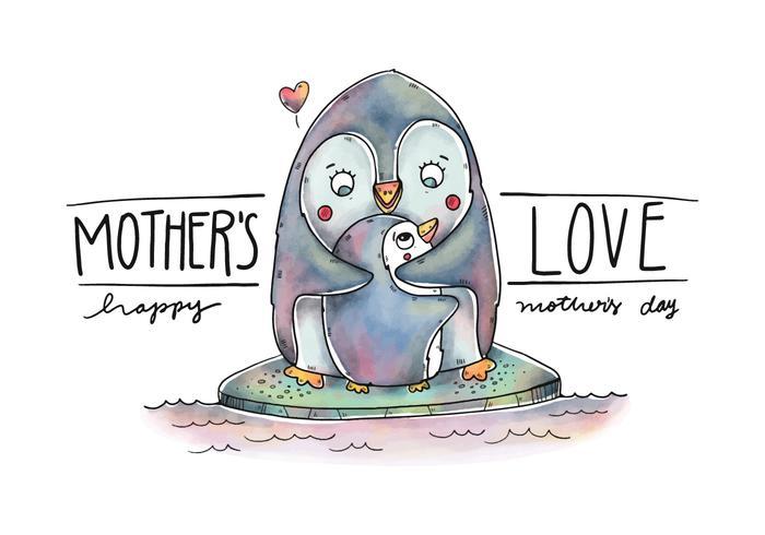 Netter Mamma-Pinguin und Sohn über Eis mit Zitat vektor