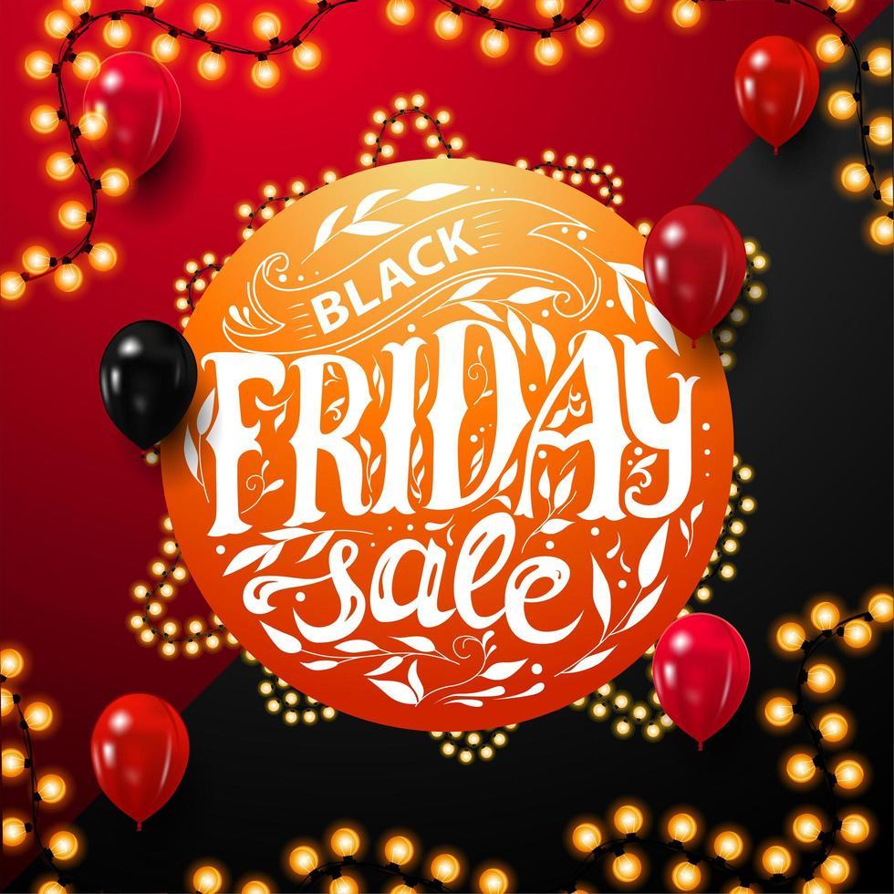 svart fredag försäljning, rund orange rabattkupong vektor