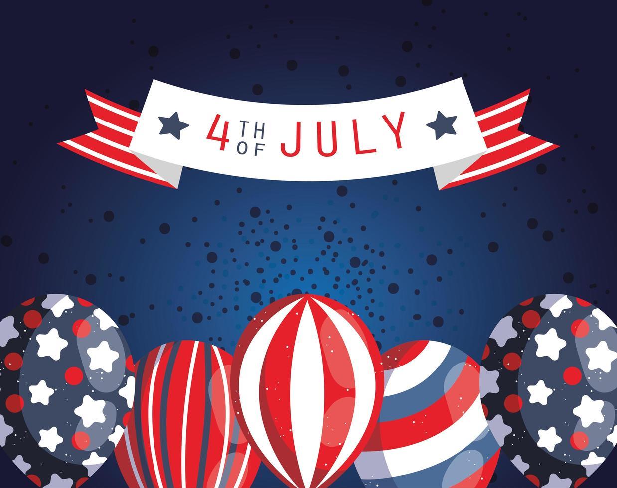 4 juli firande banner med baloons vektor