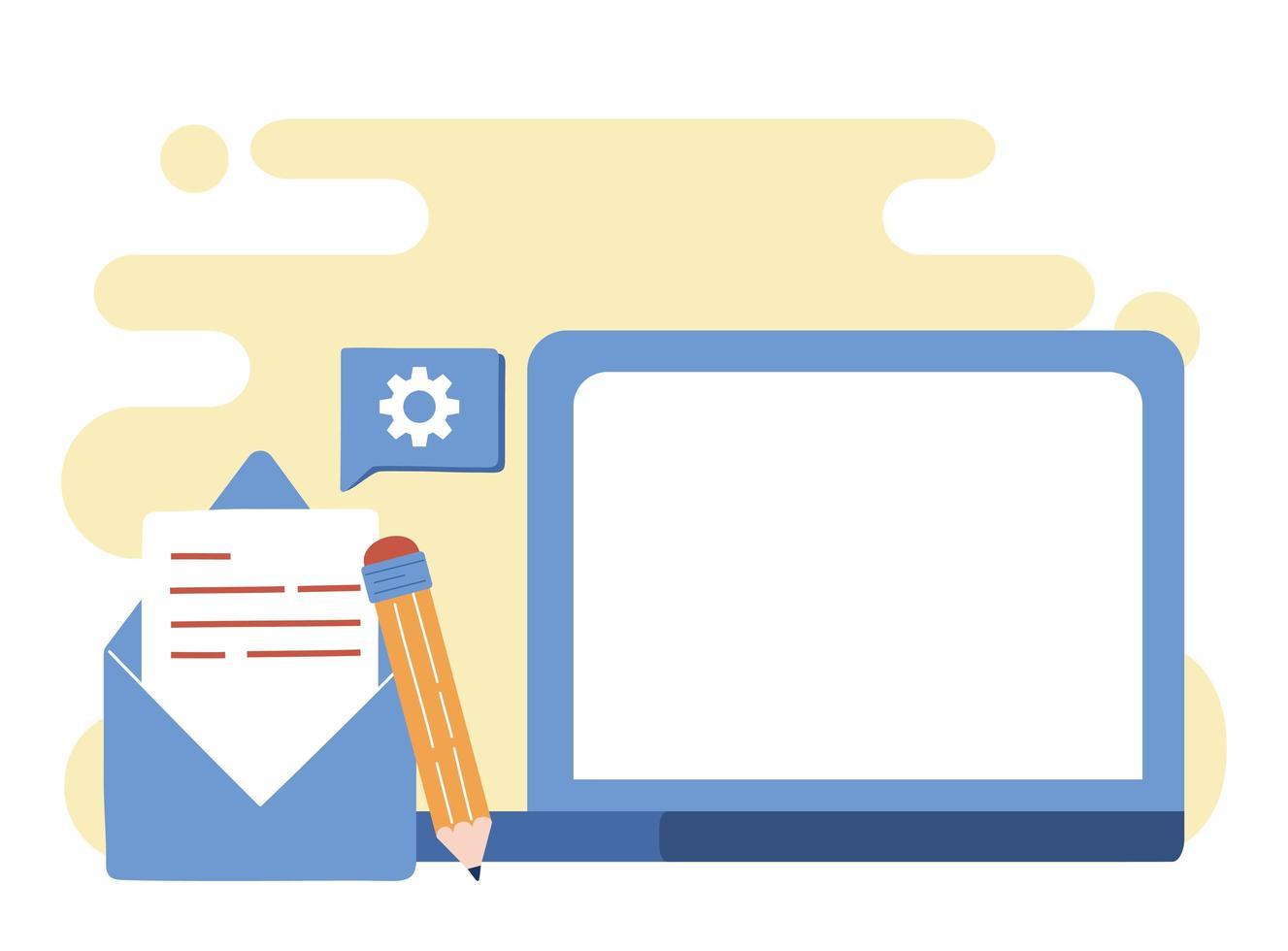 digitalt kommunikationskoncept via e-post vektor