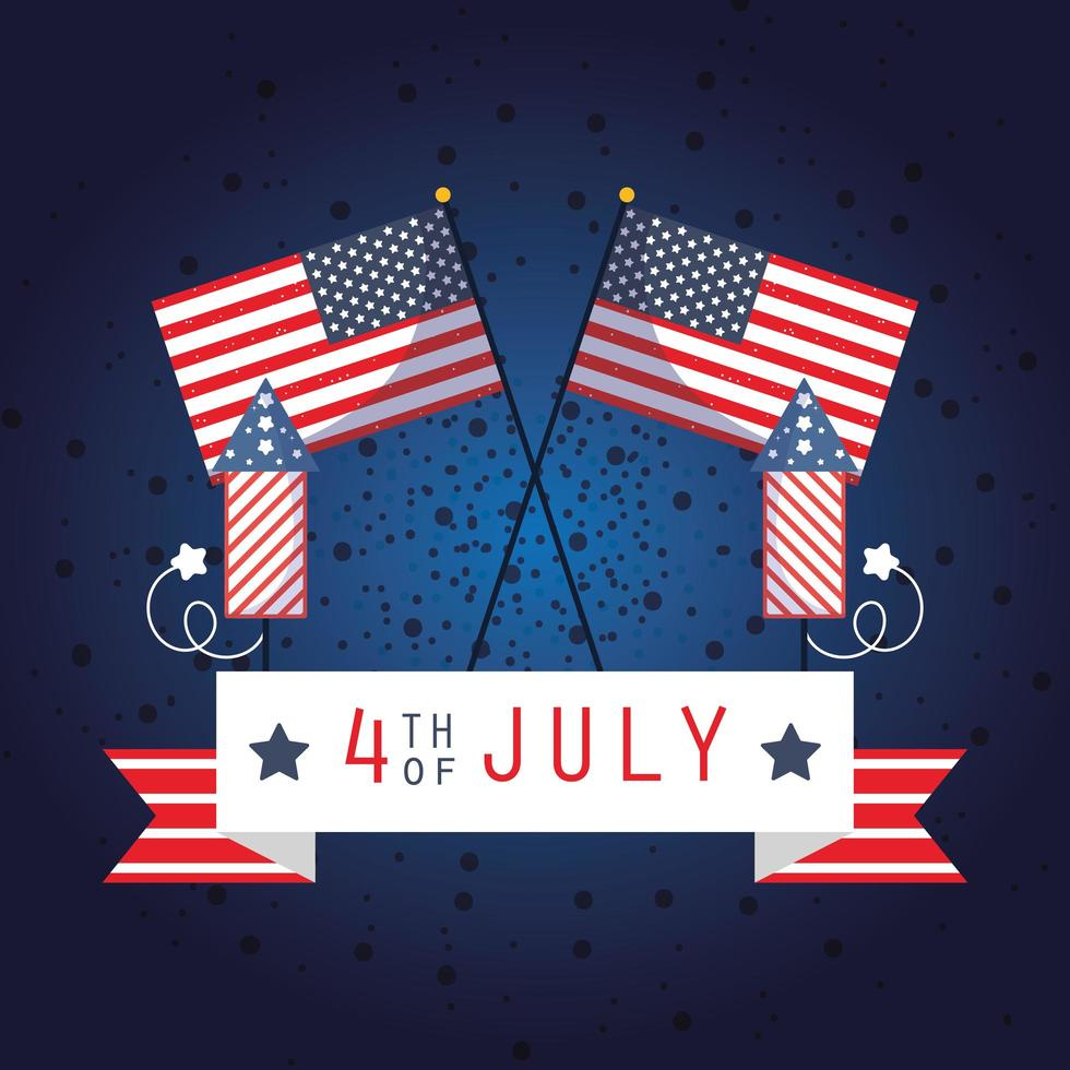 4 juli firande banner med fyrverkerier och flaggor vektor