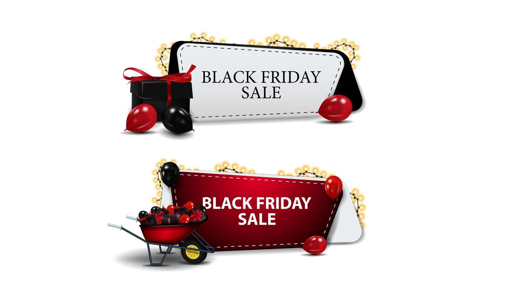 svart fredag försäljning, uppsättning av rabatter kuponger vektor