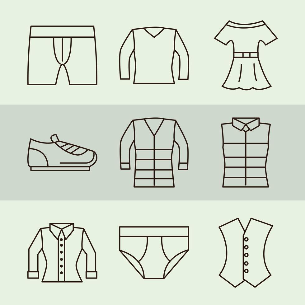 Unisex Kleidung und Accessoires einfaches Icon Set vektor