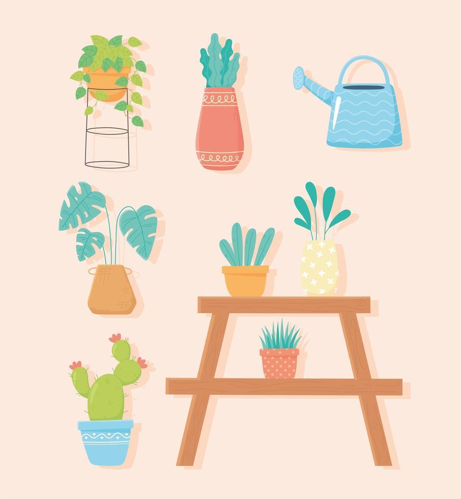 hem trädgårdsarbete, växt ikonuppsättning vektor