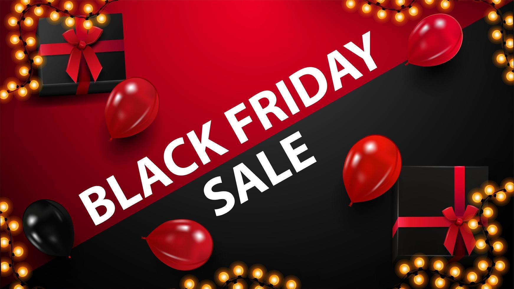 röd och svart rabatt banner för svart fredag vektor