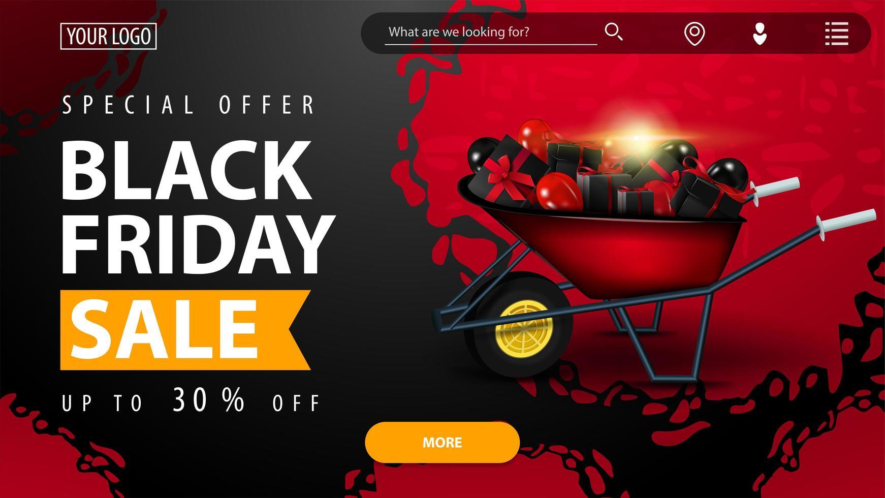 svart fredag försäljning, röd och svart banner vektor