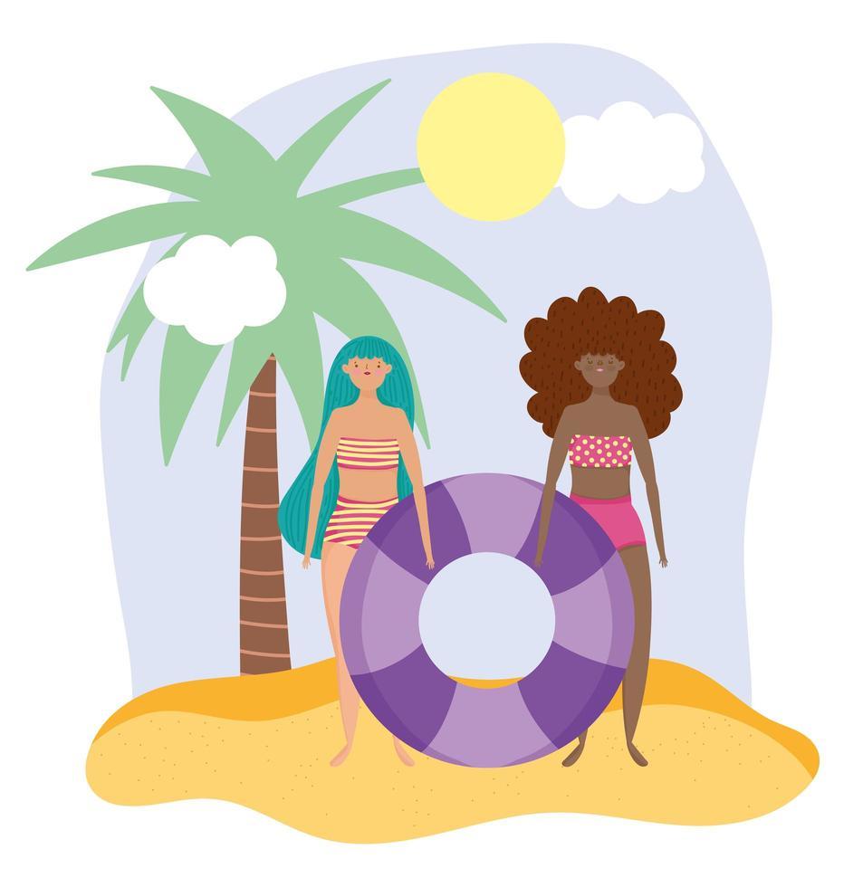 kvinnor på stranden gör sommaraktiviteter vektor