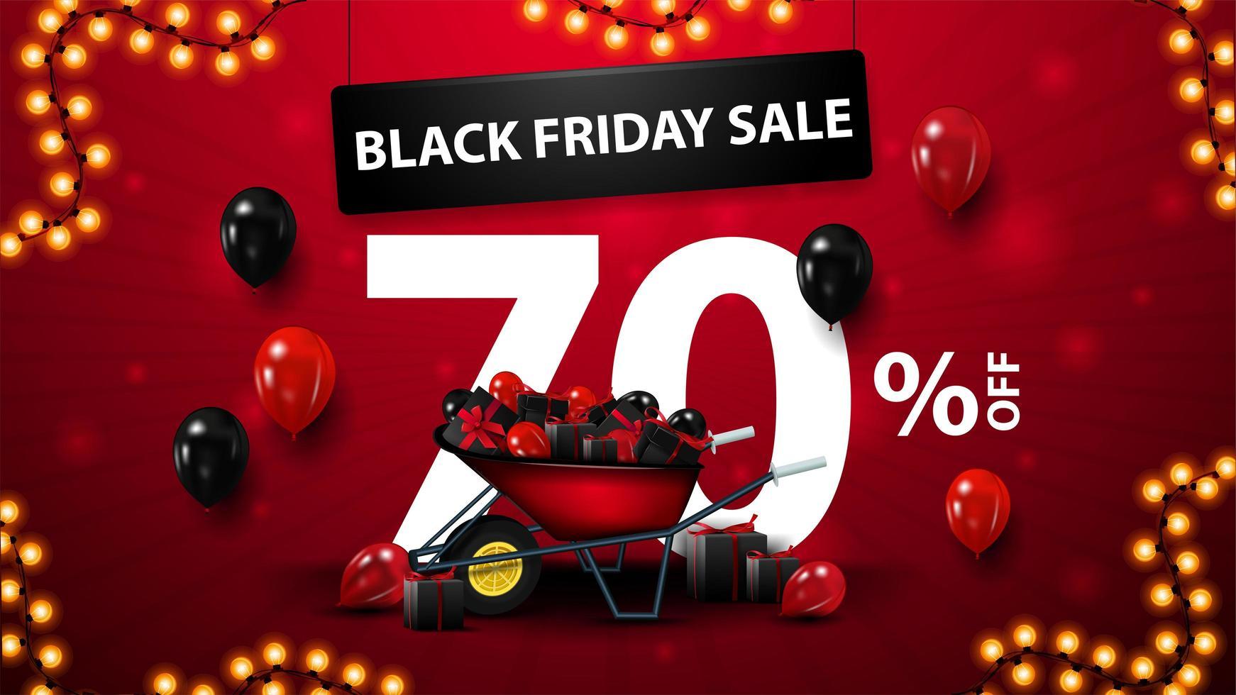 svart fredag försäljning, upp till 70 rabatt banner vektor