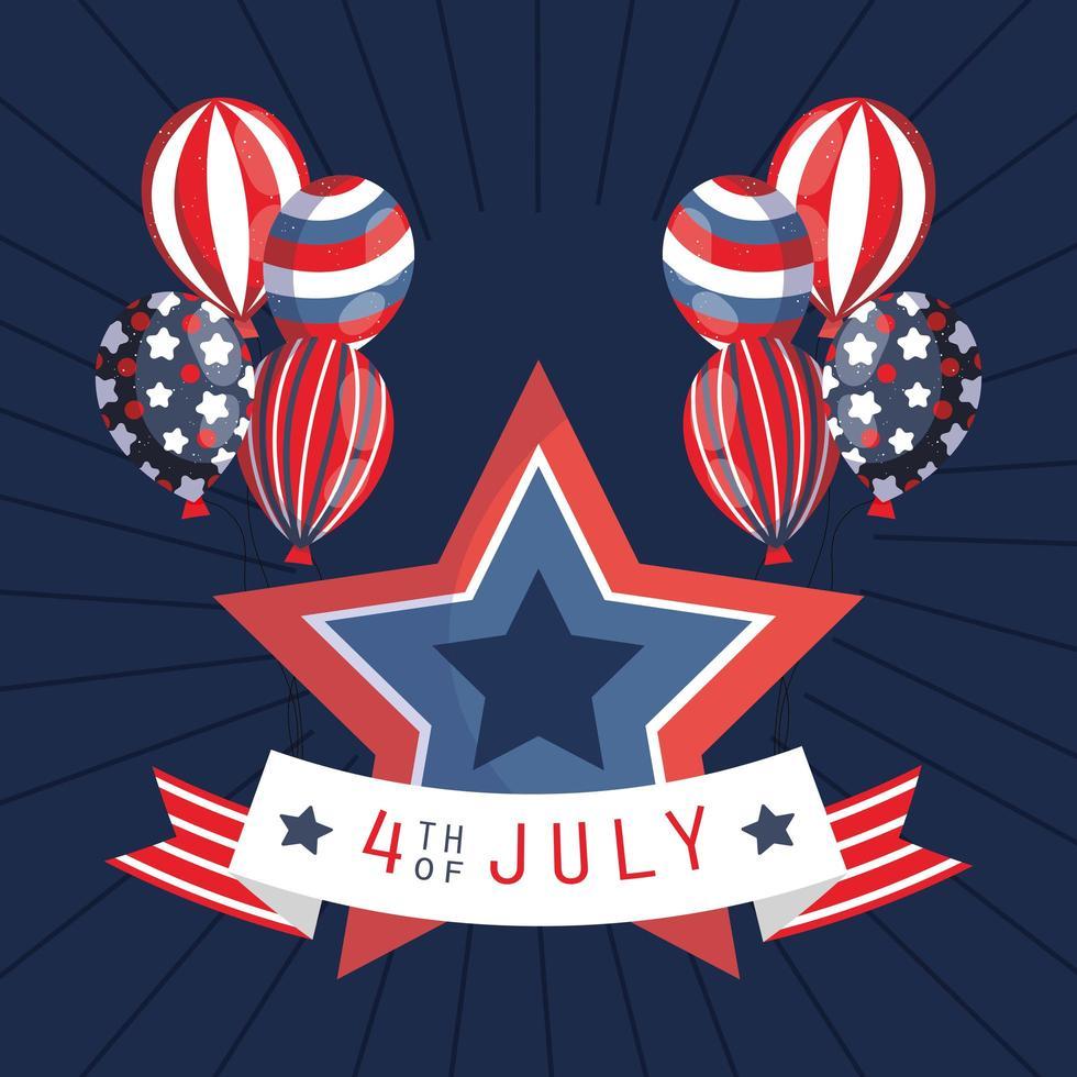 4 juli firande banner med ballonger vektor