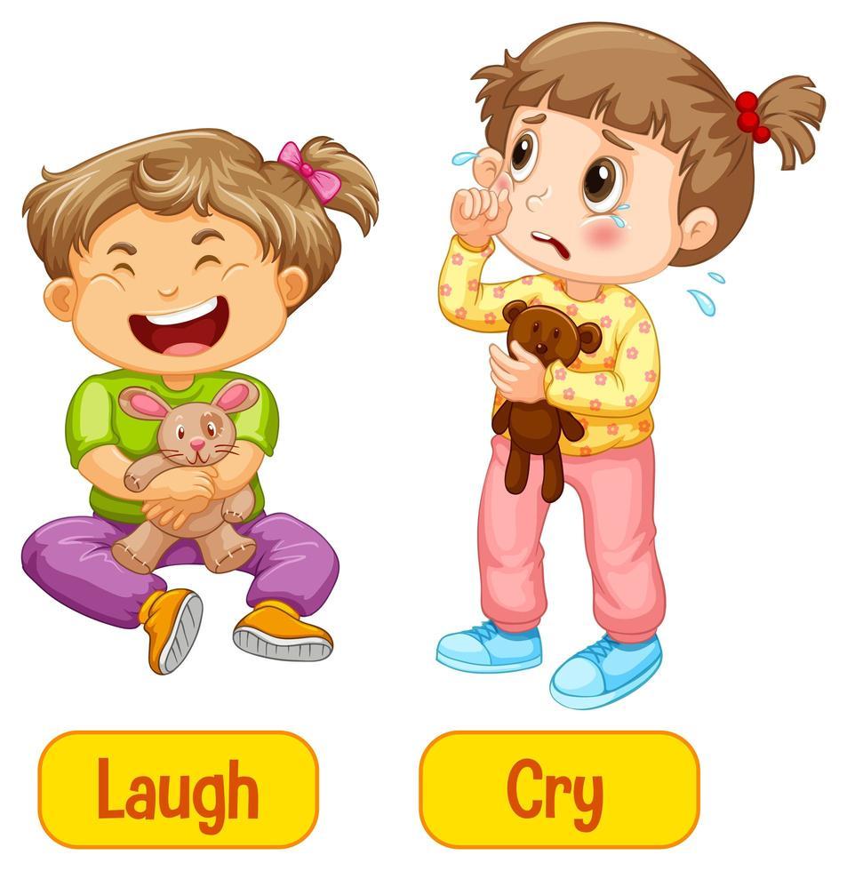 entgegengesetzte Adjektive Wörter mit Lachen und Weinen vektor
