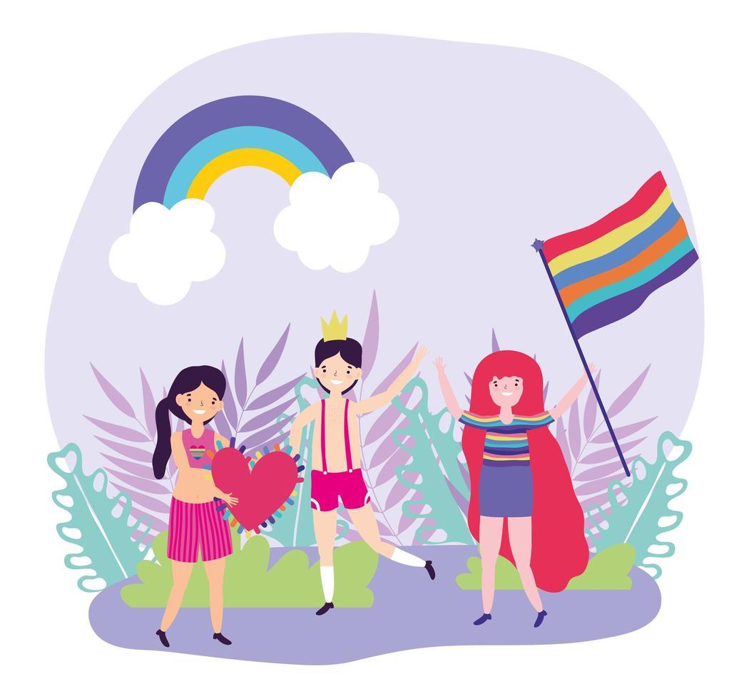 tecknad lgbtqi karaktärer för stolthet firande vektor