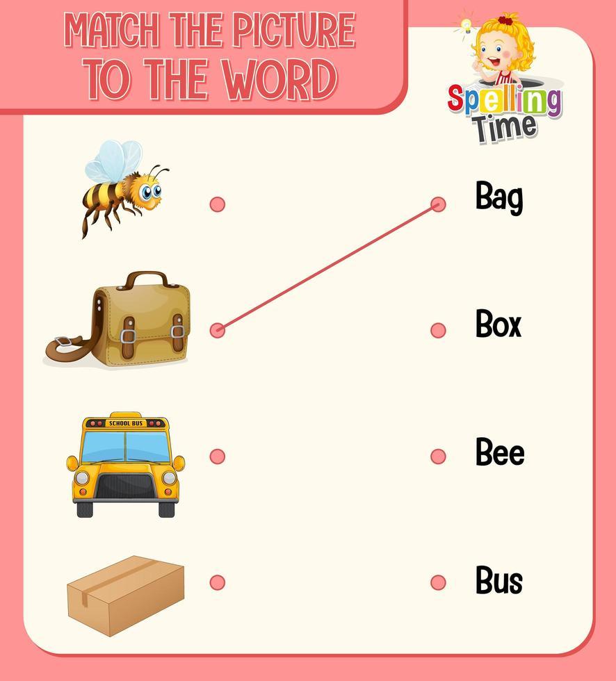 ord till bild matchande kalkylblad för barn vektor