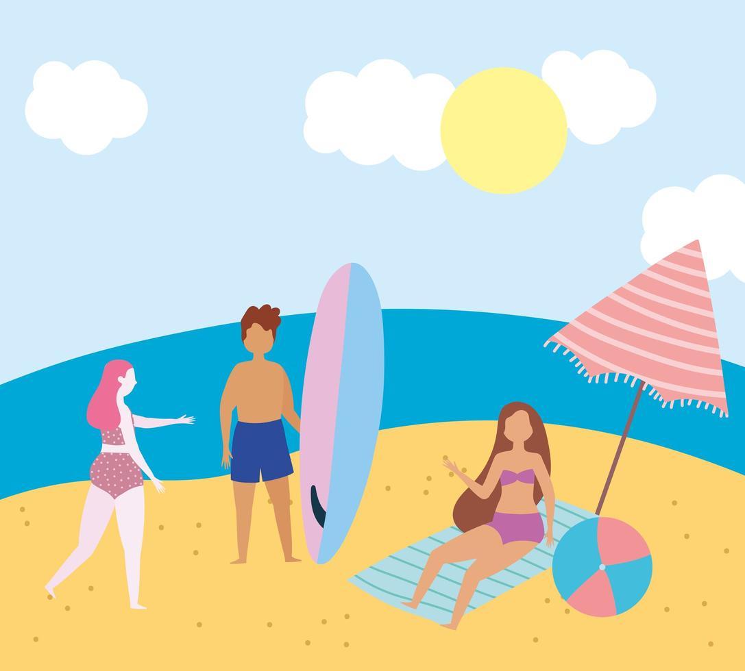 människor på stranden gör sommaraktiviteter vektor