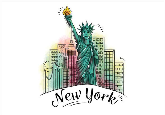 Charakter Design Statue of Liberty mit Gebäude hinter Icon von New York City vektor