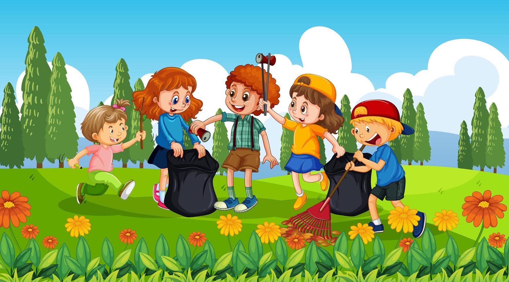 Gute Kinder sammeln Müll vektor