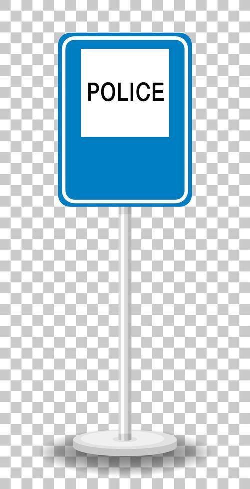 Polizei-Straßenschild mit Stand lokalisiert auf transparentem Hintergrund vektor