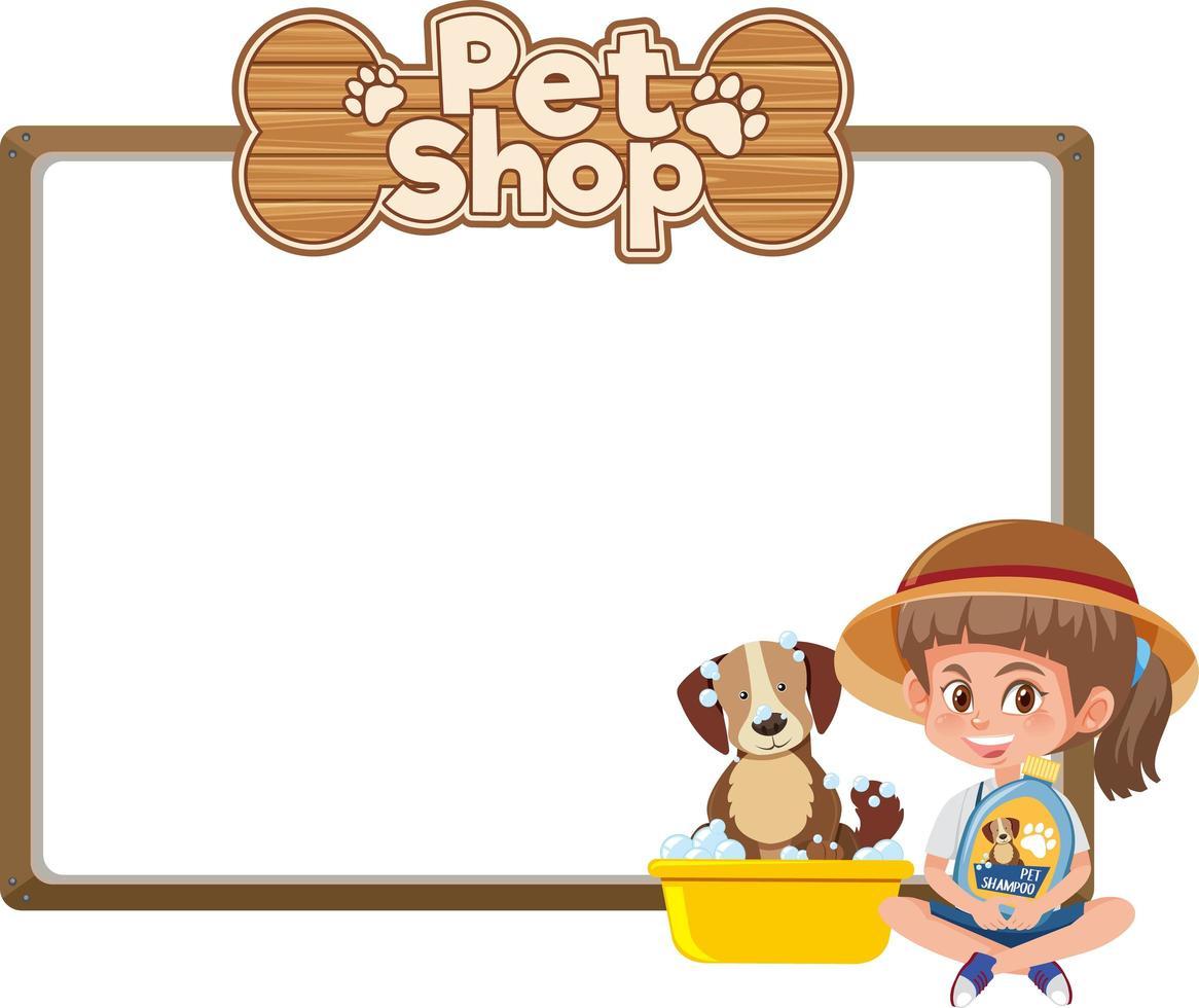 tomma banners med ungen och söt hund och djuraffär logotyp isolerad på vit bakgrund vektor