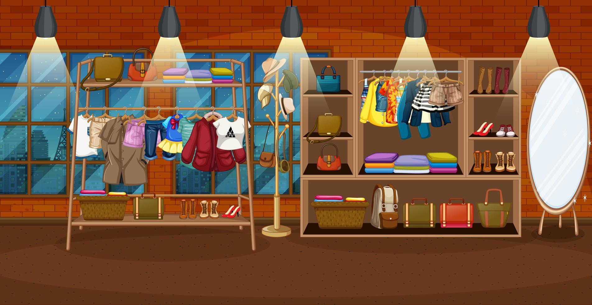 Kleidung hängt an einem Kleiderständer mit Zubehör in Regalen in der Raumszene vektor