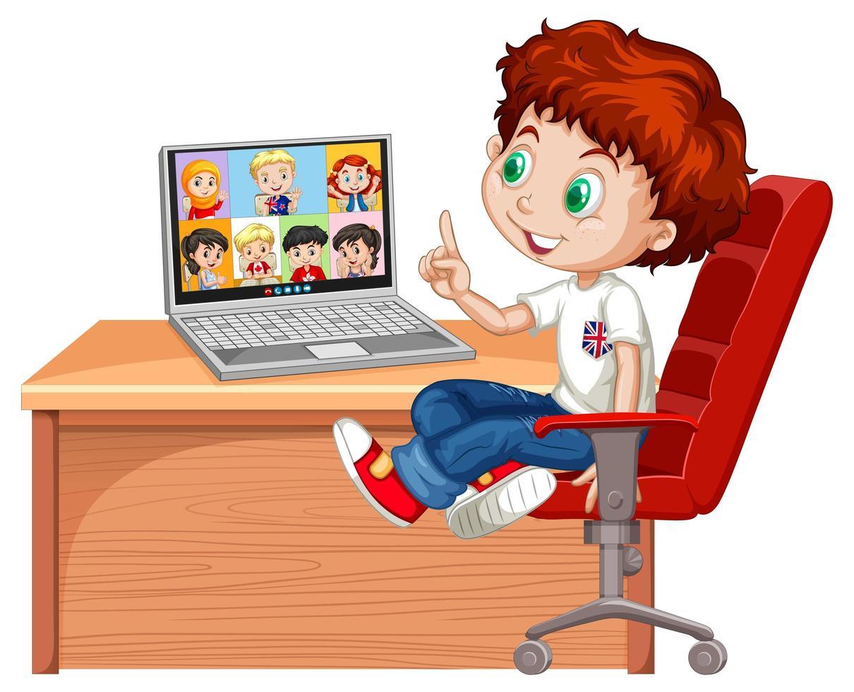 en pojke kommunicerar videokonferens med vänner på vit bakgrund vektor