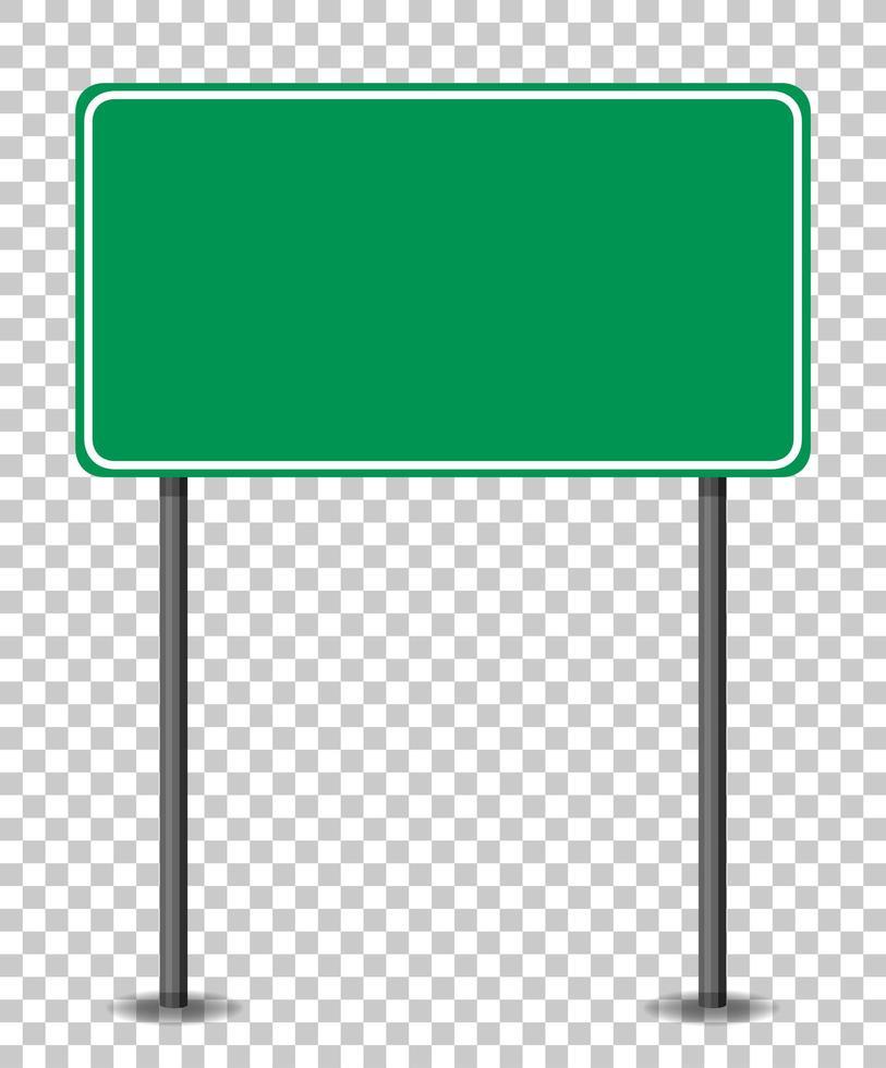 leeres grünes Verkehrsbanner auf transparentem Hintergrund vektor