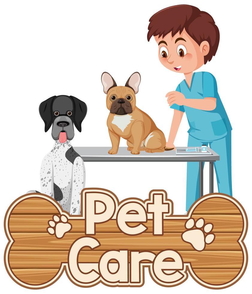 Haustierpflege-Logo oder Banner mit Tierarzt und Hunden auf weißem Hintergrund vektor