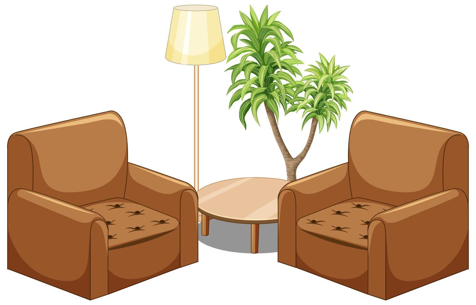 brun soffamöbler med lampa och träd isolerad på vit bakgrund vektor