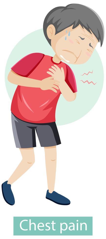 Zeichentrickfigur mit Brustschmerzsymptomen vektor