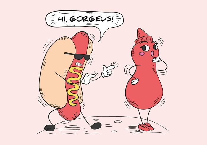 Lustiger Hot Dog und Sauce Flaschencharakter vektor