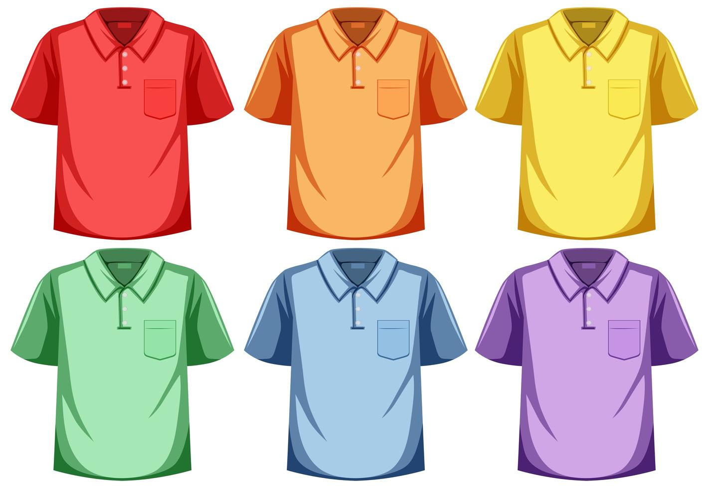 Satz Poloshirt verschiedene Farbe vektor