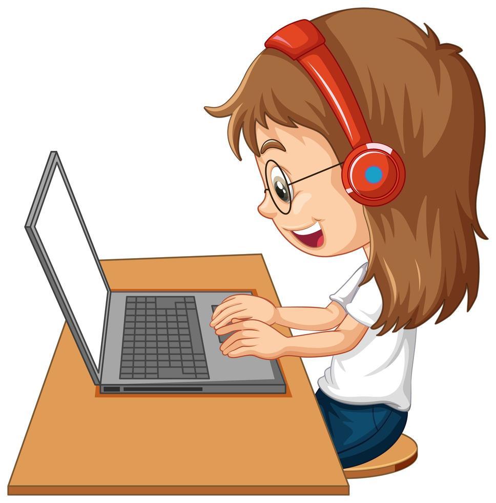 sidovy av en flicka med bärbar dator på bordet på vit bakgrund vektor