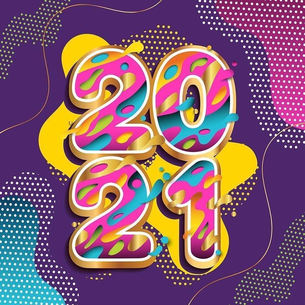 energisk färgglatt gott nytt år 2021 hälsningskoncept vektor